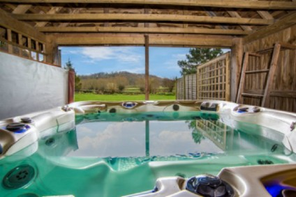 Bubbly indoor hot tub