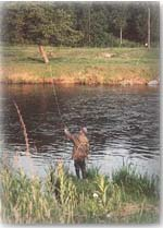 Fishing on the banks of the River Don in Donside Aberdeenshire