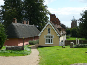 Thaxted in Essex with pretty colourful thatched cottages and unspoilt countryside nearby