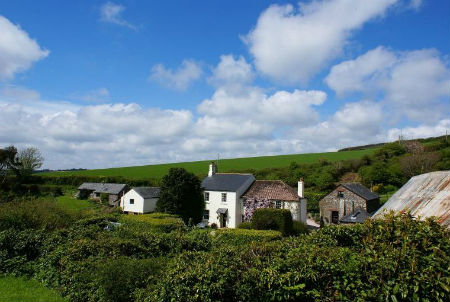 Dittiscombe cottages in tranquil valley